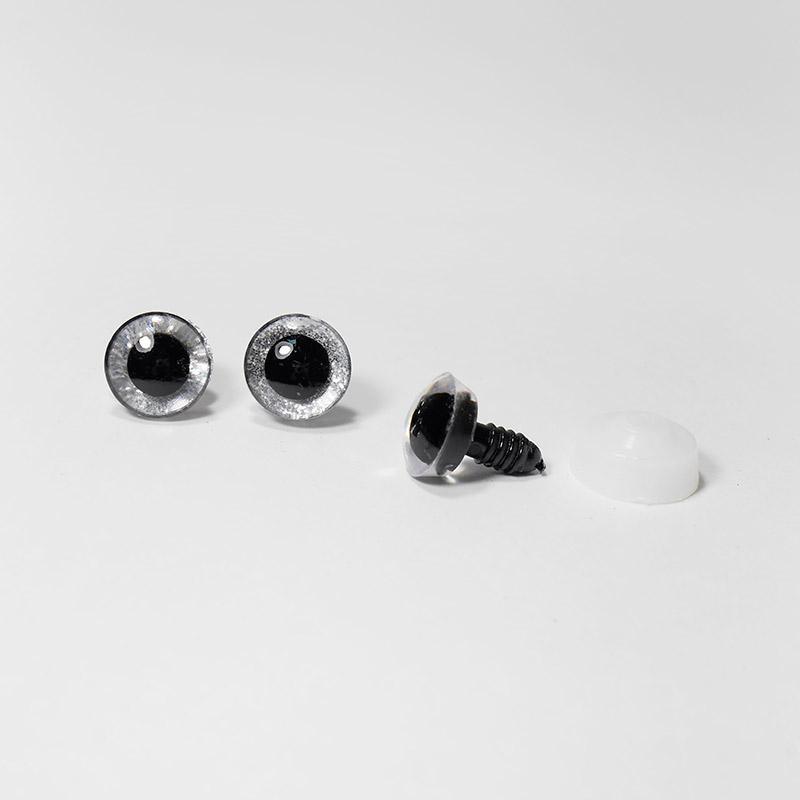 Глазки с искоркой 16мм, серебристый